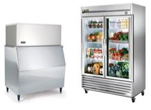 Beverage cooler and ice machine in restaurant